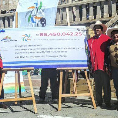 Minera Antapaccay entrega S/86.4 millones para el desarrollo de Espinar, en Cusco