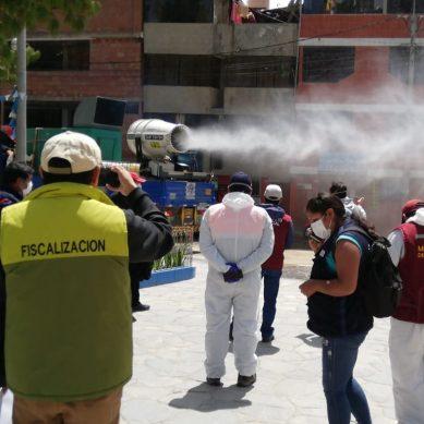 Las Bambas prueba «exitosamente» equipo para desinfectar calles de Challhuahuacho